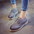 Oxford Shoes For Women PU Soft Solid Leather Woman Casual Flats Designer Vintage Round Toe Shoes Round Toe Creepers Lace-Up