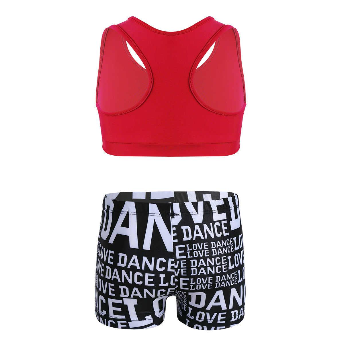 Dzieci balet gimnastyka trykot dla dziewczynek taniec sukienka dwa kawałki siłownia trening ubrania sportowe Tank Top i krótkie spodnie zestaw strój kąpielowy