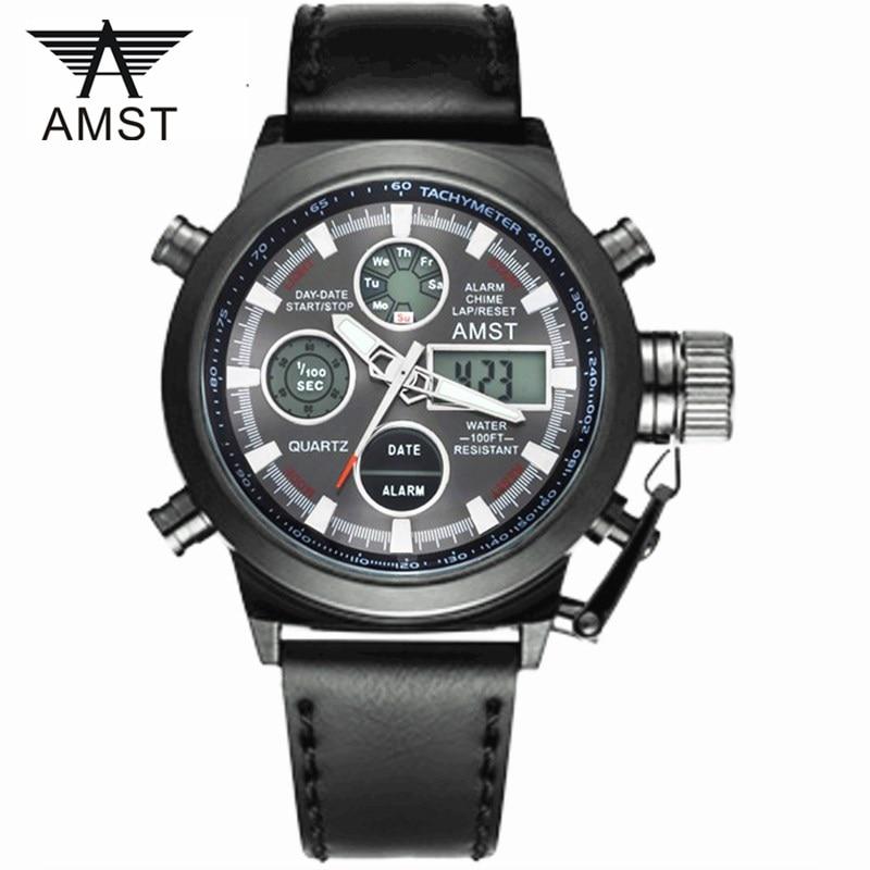 все цены на 2018 AMST Brand Quartz Watch for men LED digital analog military sport watches fashion dual display outdoor waterproof clock онлайн