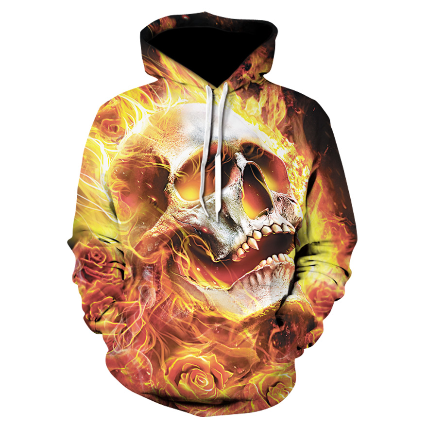 Men's Casual Single Layer 3D Print Skull Series Hooded Sports Jacket Unisex fashion cool hooded sports tops Casual hooded coat