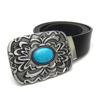 New Arrival American Western Cowboy Belt Men Big Buckle With Turquoise Inlay Black Pu Leather Belts