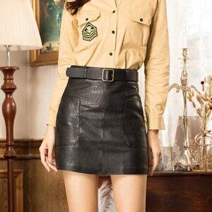 Image 2 - Faldas de cuero sintético de cintura alta para mujer, minifalda de línea a con cinturón, color marrón, negro y blanco, para Otoño e Invierno