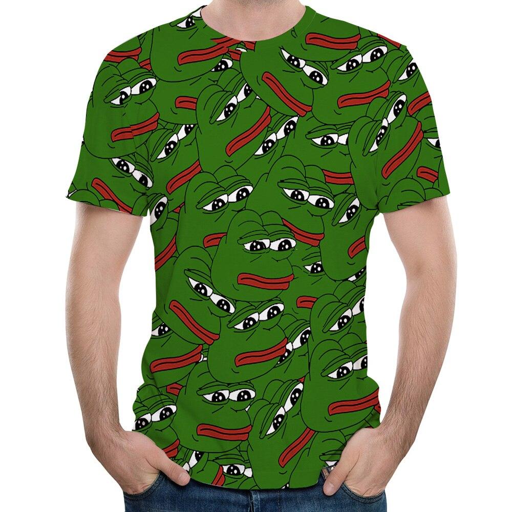 Sumer Hot Meme Pepe Frog T Shirt Men Summer Fashion Sad Frog Pepe Tshirt Printed T-shirt Casual Short Sleeve O-Neck Pepe Shirt