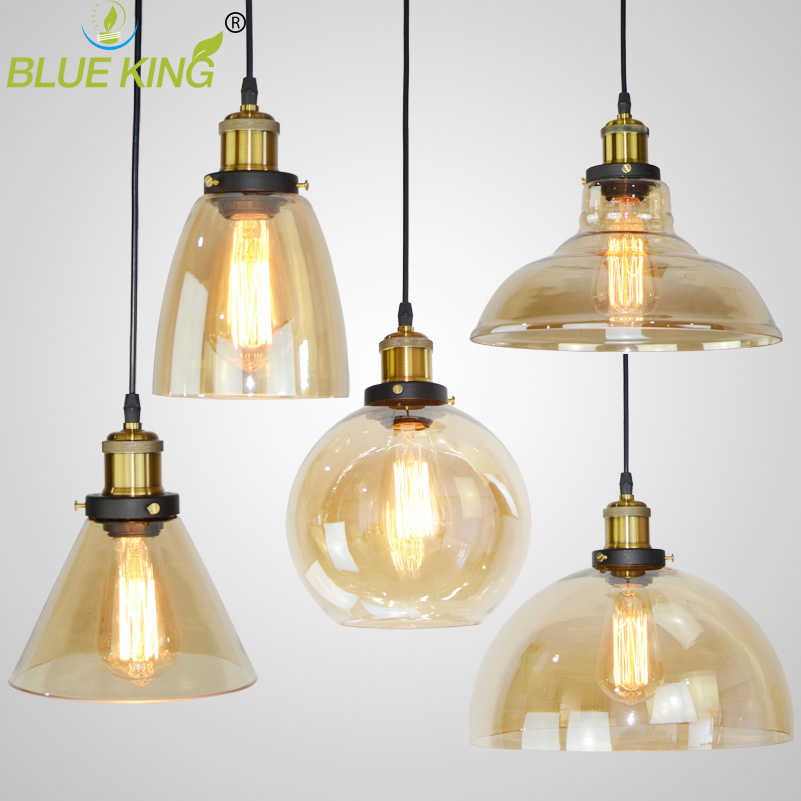 Industrial Modern Glass Pendant Lights Luminaire Vintage Pendant Lamp Hang lamp Light For Bar Restaurant amber Glass Lampshade vintage pendant light exotic colored glass lampshade modern industrial bar christmas tree bedroom antique fixture retro loft