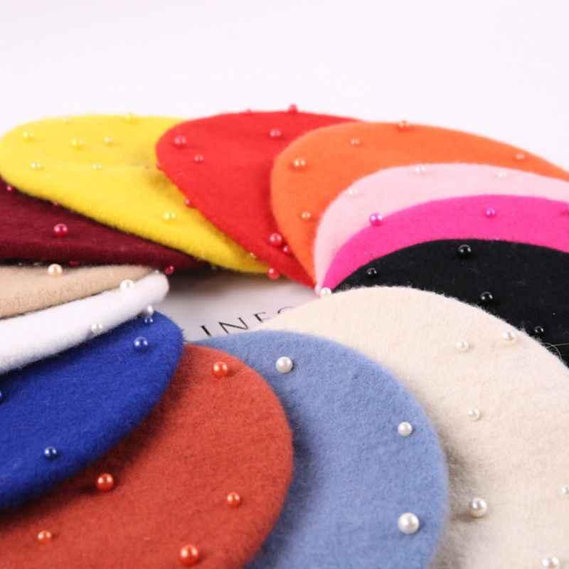 Boinas Boina Feminina, хипстер, Джокер, жемчуг, шерсть, фетр, берет, разноцветный, живописный, милая шапка для детей