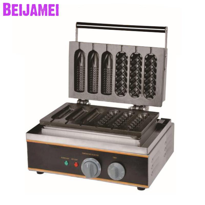 Ev Aletleri'ten Waffle Makineleri'de BEIJAMEI Yeni kremi endüstriyel mısır köpek waffle makinesi 110 v 220 v elektrikli Muffin mısır köpek waffle yapma makinesi title=