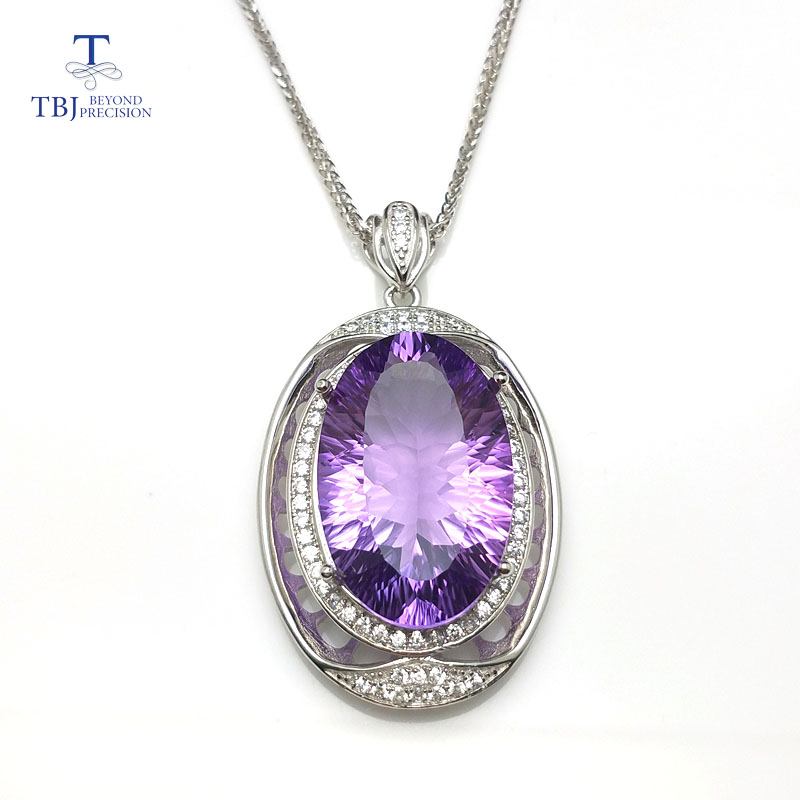 TBJ Big shiny Gemstone pendant with natural amethyst concave cut in 925 sterling silver fine jewelry