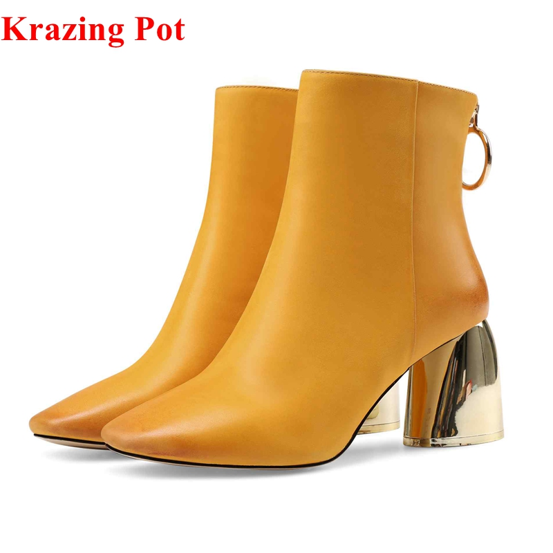 Krazing pot 2018 recommend metal round zipper women ankle boots yellow solid color concise party riding short Chelsea boots L75 цены