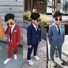 ילד אדום כחול חליפת חתונה בגדי מעיל + מכנסיים ילדים תלבושות שלב ביצועים מארח מראה ילד חליפות 90 140 ילדי חליפות