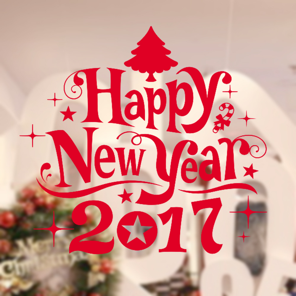 DIY Decoration Happy New Year 2017 Tree Bell Wall Art