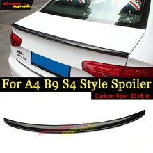 A4 B9 Rear Trunk Spoiler Tail wing Lip AES4-Style Carbon Fiber For A4a A4Q Coupe Wing 2016-in