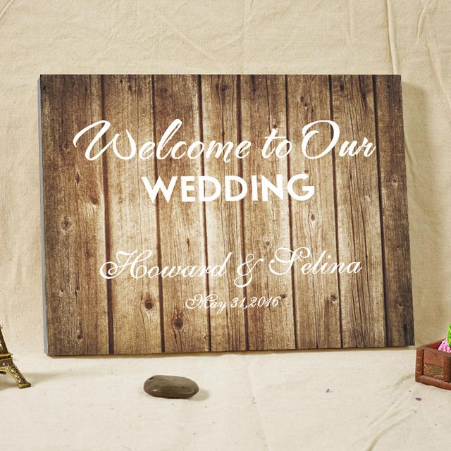 Rustic Wedding Guest Book Alternative Welcome Board Woodgrain ...