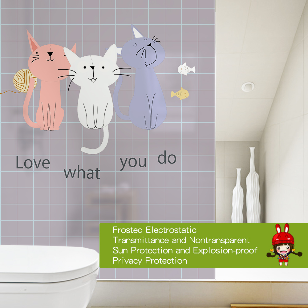 Free Customized Stained Static Cling Window Film Frosted Privacy Glass Sticker Home Decor Digital BLT1686 Private Cat in Decorative Films from Home Garden