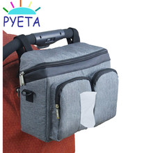PYETA Stroller Accessories Diaper Bag Baby Stuff Nappy Stroller Organizer Mom Travel Hanging Carriage Pram Buggy Cart Bottle Bag(China)