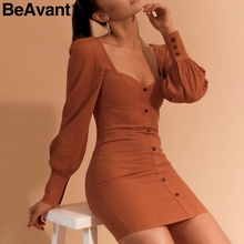 BeAvant Sexy vestido outono inverno mulheres gola quadrada Do Vintage botão bodycon vestido fêmea 2018 de manga Longa vestidos curtos vestidos