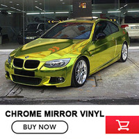 OPLARE Fluorescent yellow 1.52x20m stretchble chrome mirror Vinyl wrap fast and easy without damage to car paint
