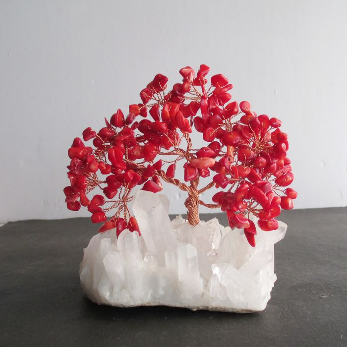Natural crystal decoration pachira lucky tree natural white crystal base lucky free shipping