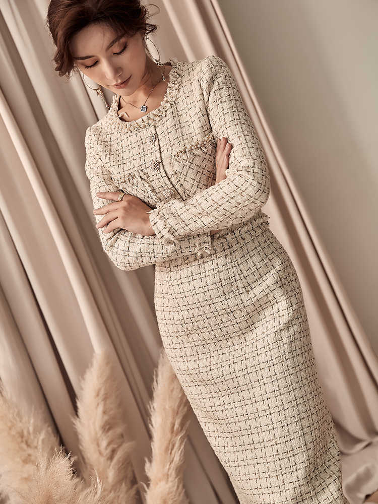Nieuwe Designer 2019 Europese Vrouwen Luxe Handleiding Kralen Ronde Kraag Lange Mouwen Gebreide Tweed Slanke Potlood Jurk