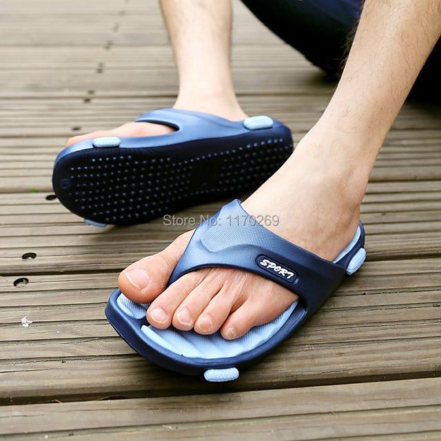 2015 New Summer Men Casual Flat Sandals, Leisure Soft Flip Flops,Rubber Massage Beach Slipper Shoes For Men Size 40-44 3colors