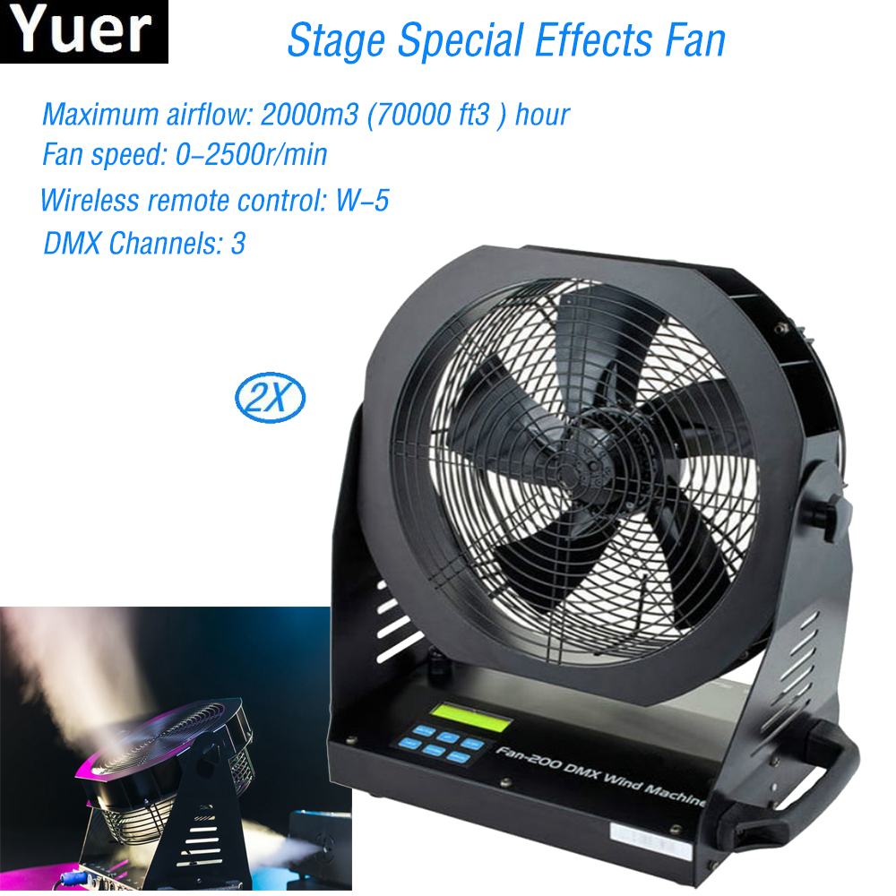 2Pcs/Lot Professional Stage DJ Special Effects Fan Equipment 200W Remote Contol Stage Effect Fan For Wedding Stage Performance
