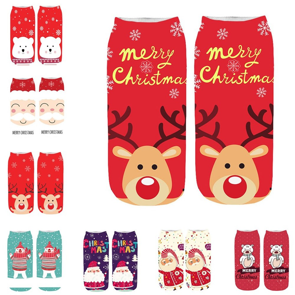Hot Dropshipping Women's 3D Funny Socks Christmas Santa Claus Print Crazy Cute Amazing Novelty Print Ankle Socks Merry Christmas