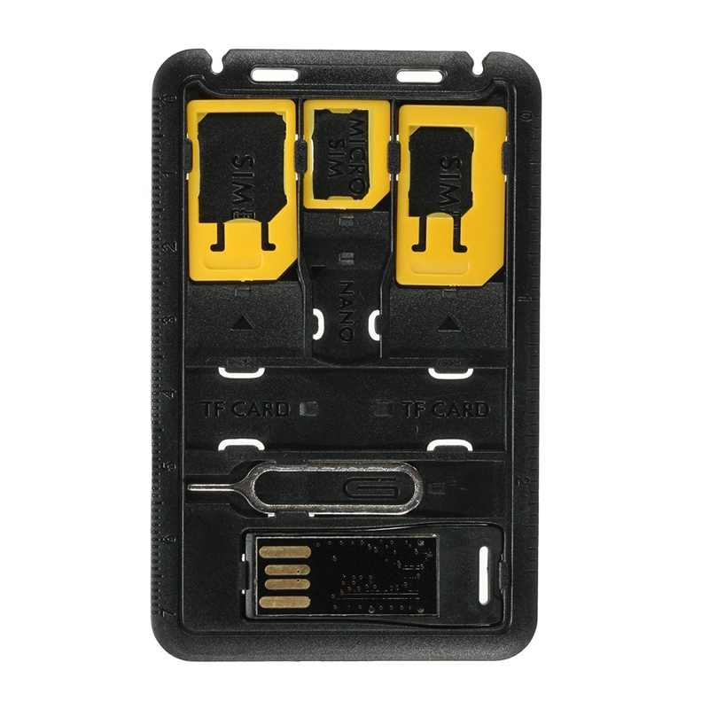 5 in 1 Universal For Nano Micro SIM Card Memory Card Adapter Mini SIM Card Storage Case Kits Holder Reader Case Cover Connector