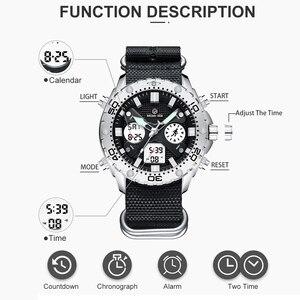 Image 3 - GOLDENHOUR montre bracelet pour hommes, montre bracelet analogique en toile, numérique à double affichage, étui en argent, à la mode Sports de plein air, style militaire