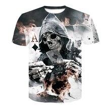 2018 New Mens Summer Skull Poker Print Men Short Sleeve