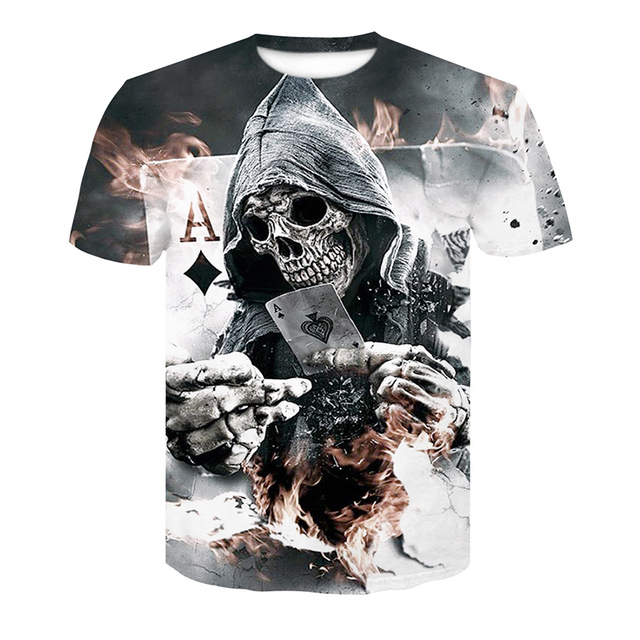2018 nueva chaqueta de verano cráneo estampado Poker hombres manga corta Camiseta  3D T camisa Casual 5e54445e3d471