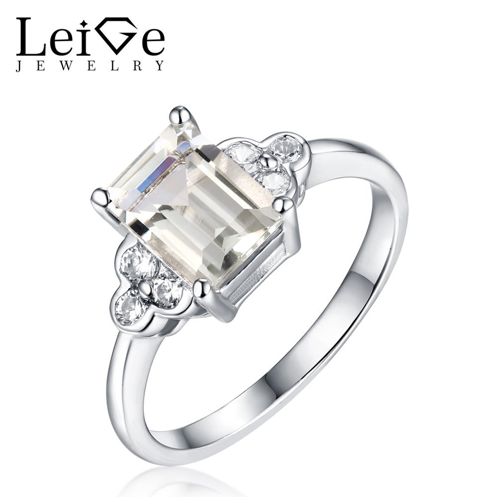 Leige Jewelry 925 Sterling Silver Green Amethyst Promise Rings for Women Emerald Cut Natural Gemstone Ring Fine Jewelry natural real amethyst ring 925 sterling silver 6 8mm gemstone for men or women rings fine jewelry