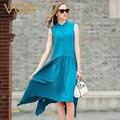 VOA голубой шелк dress лето 2017 A5930 бесплатная рукавом свободные простой шелк платья слово
