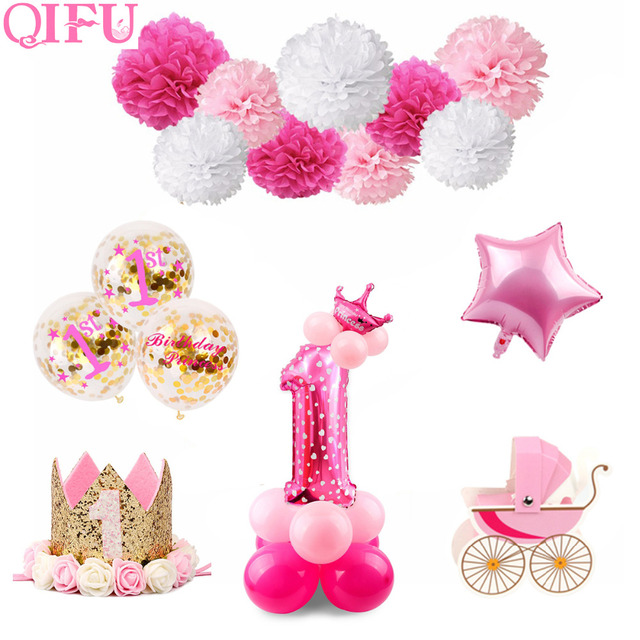 QIFU 1 Birthday Girl Party Decorations Kids First Decor Banner Balloons One Year Old