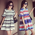 2017 Black White Elegant Women's Shirt Dress Tops Tees Summer Short Sleeve Stripes Loose Casual Jersey Mini Shift Dresses Shirt