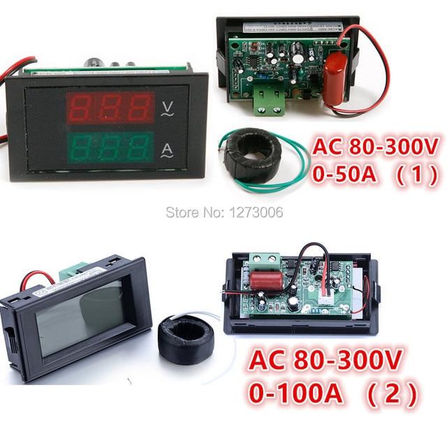 Universal 1pcs AC 80-300V 50A/100A LED Digital Current Voltage Meter Audios Panel Volt Amp Combo Meter