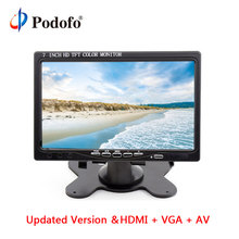 "Podofo 7 ""Schermo LCD HD Rearview del Monitor Dell'automobile HDMI VGA DVD Digital Display Parcheggio Retromarcia Monitor Per Il Backup Fotocamera Auto-styling"