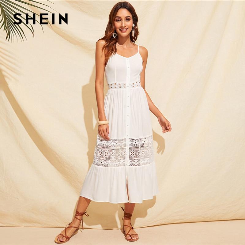 Шеин многоцветный связали спинки тропический принт Лето Boho сексуальное платье для женщин кепки рукавом Fit and Flare Глубокий V образным вырезо