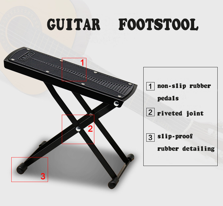 Foldable Anti-Slip Guitar Foot Rest Stool Metal Guitar Pedal 6 Adjustable Height Levels Black High Quality Guitar Parts ...