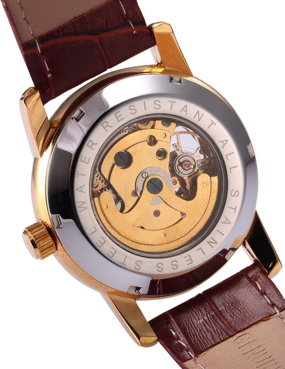 Heren Horloges Luxe Gouden Skelet Mechanisch Steampunk Heren Klok - Herenhorloges - Foto 5