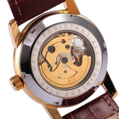 Men Wrist Watches Luxury Golden Skeleton Mechanical Steampunk Male Clock Automatic Wristwatch Leather Strap Herren Horloges Multan