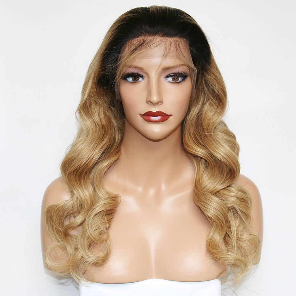 Eversilky Blonde Ombre 1b/27 Dark Roots 2 Tone Human Hair Lace Front Wigs for Women Remy Loose Wave Lace Wig with Baby Hair