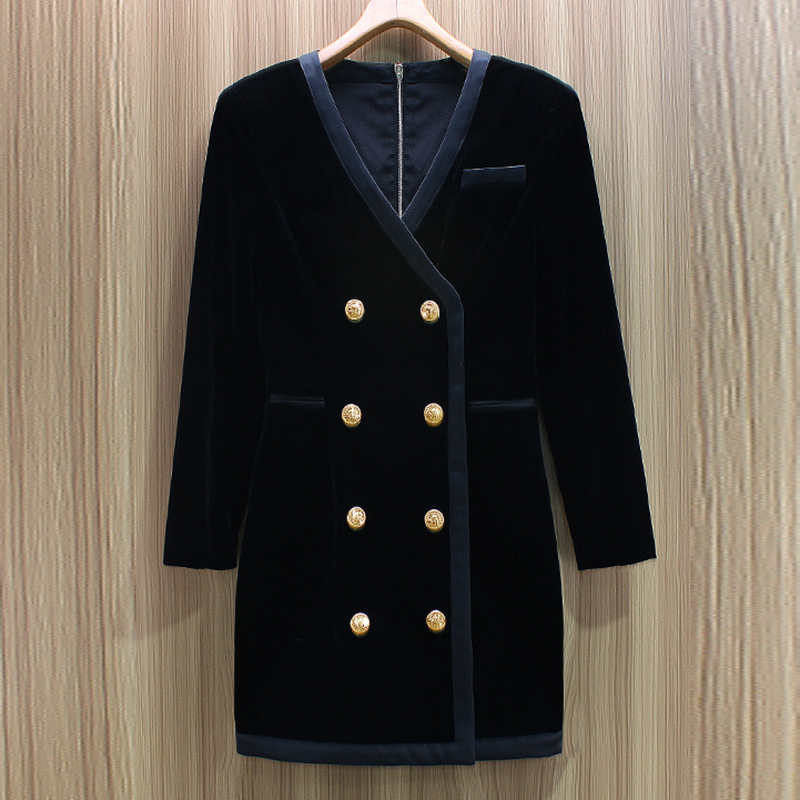 Alta calidad 2019 moda barroca diseñador vestido de mujer cuello en V botones de Metal doble Breasted vestido de terciopelo-in Vestidos from Ropa de mujer    1