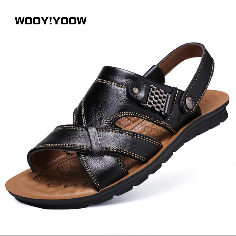 WOOY!YOOW 2018 New Men's Sandals Male Trend Leather Beach Shoes Casual Sandals Men Casual Shoes Slippers Spring Summer Shoes