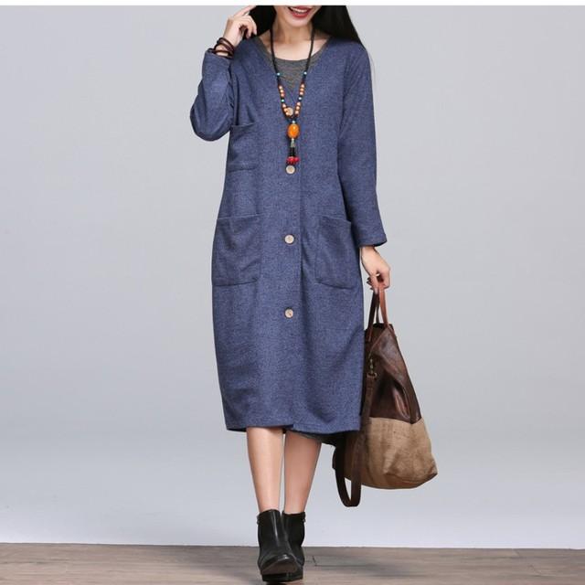 2016 Outono E Inverno Retro Blusão Casaco Longo Casaco de Lã das Mulheres Novas Solto Casaco Simples Cor Sólida Reta WT019