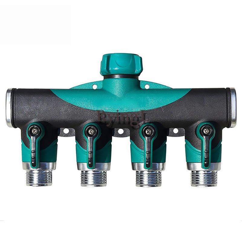 # New 4 way Adapter, Arthritis Friendly Watering Garden Hose 4 Way Tap Splitter Brass Screw Thread 4 Way Hose Quick Connector
