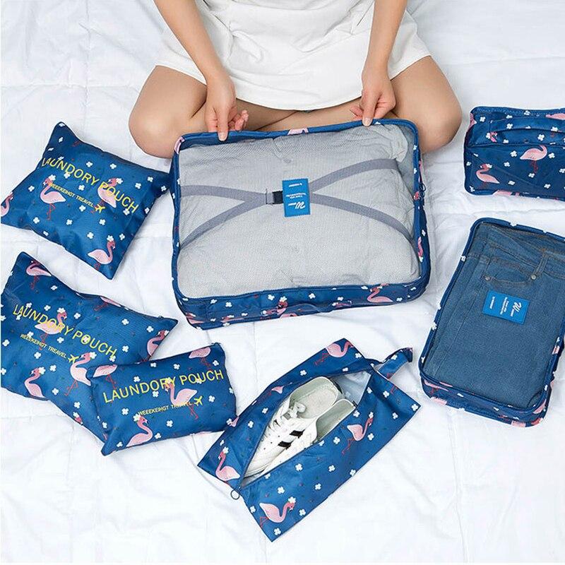 XYLOBHDG New High Capacity 7pcs/set Travel Suitcase Organizer Bag Women  Men Clothes Partition Arrange Storage Luggage Bags