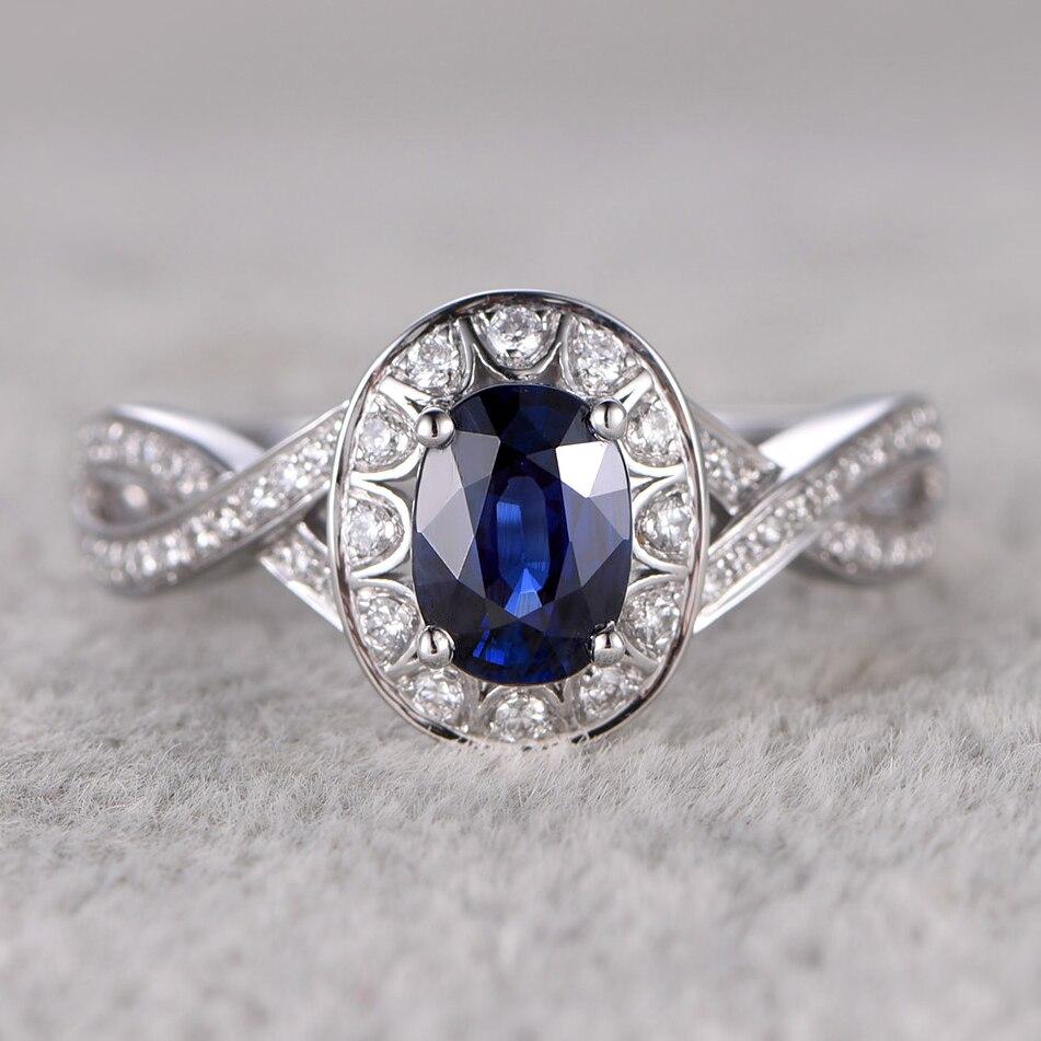 Myray 14k White Gold Pear Shaped Natural Genuine Blue Sapphire Plain Band Engagement  Ring Vintage Rings For Men Women Wedding