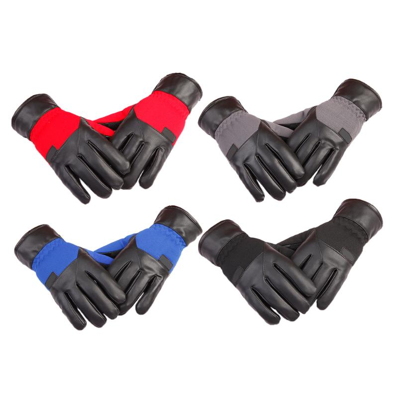 Mens Full Finger Outdoor Cycling Gloves Breathable Winter Skiing Fitness Leather Warm Windproof Gloves 4 Colors Available