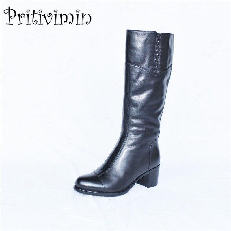 2017 Ladies cow leather bottes femmes winter women botas mujer handmade shoes girls warm fur knee high boots Pritivimin FN28 цены онлайн