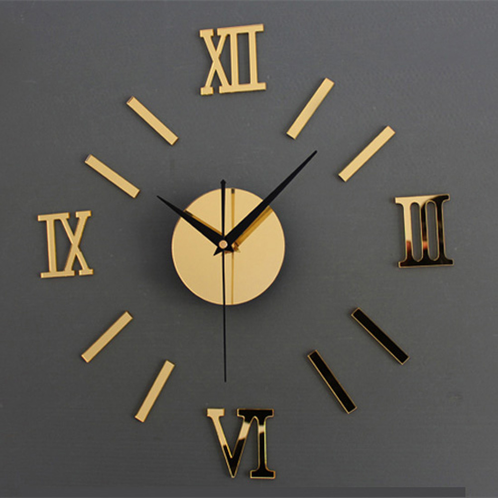 online get cheap wall clock gold aliexpresscom  alibaba group - diy wall clock d mirror roman font stickers hour modern art watch goldsilver(china
