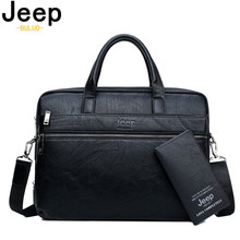 JEEP BULUO Mens Briefcase Bags For 13.3 Laptop Man Business Shoulder Bag Handbags High Quality Leather Office Black